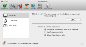 Preferencias virus scan